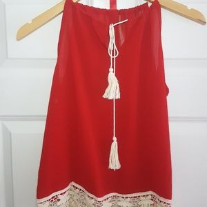 Tops - Red Tassle & Lace Top